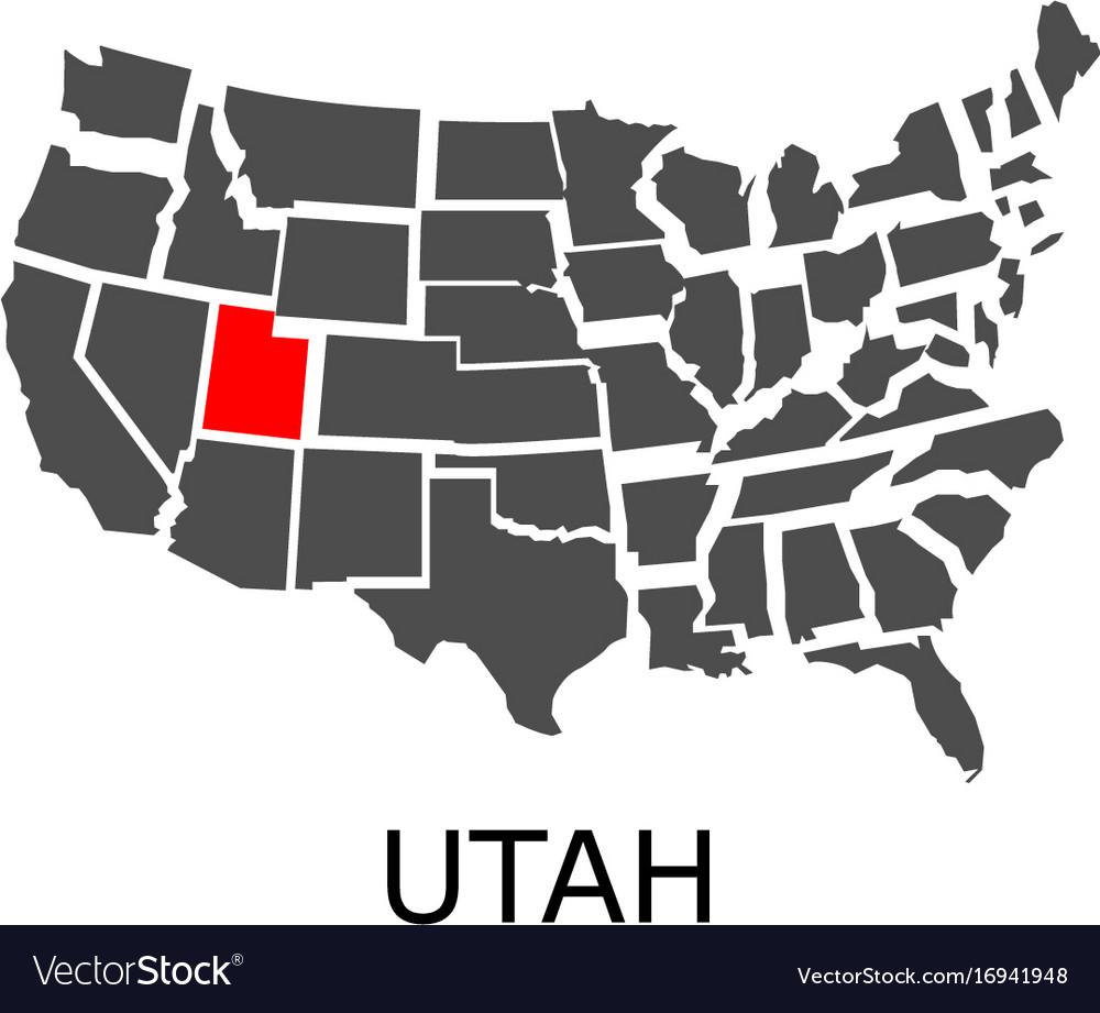 Utah In Usa Map.State Of Utah On Map Of Usa Royalty Free Vector Image