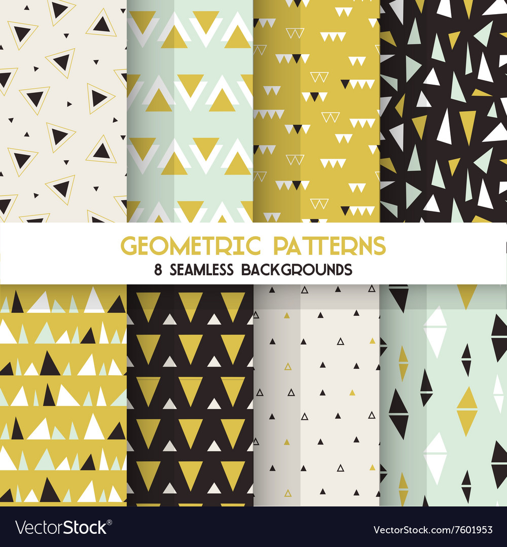 8 Seamless Geometric Triangles Patterns