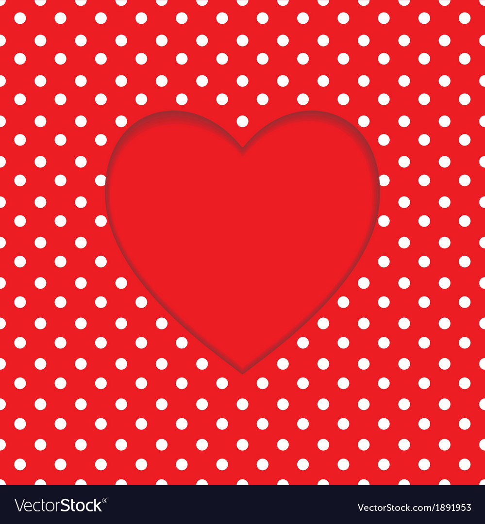card heart shape polka dot background royalty free vector vectorstock