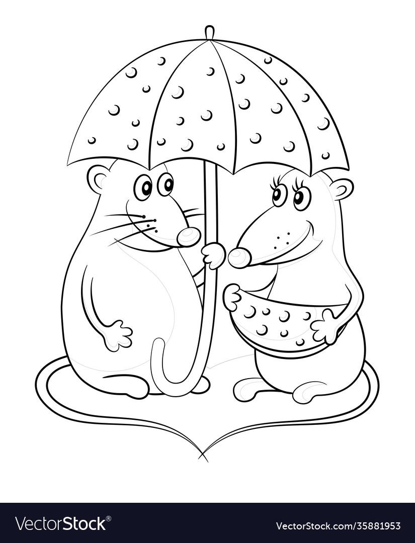 Cartoon mice with cheese