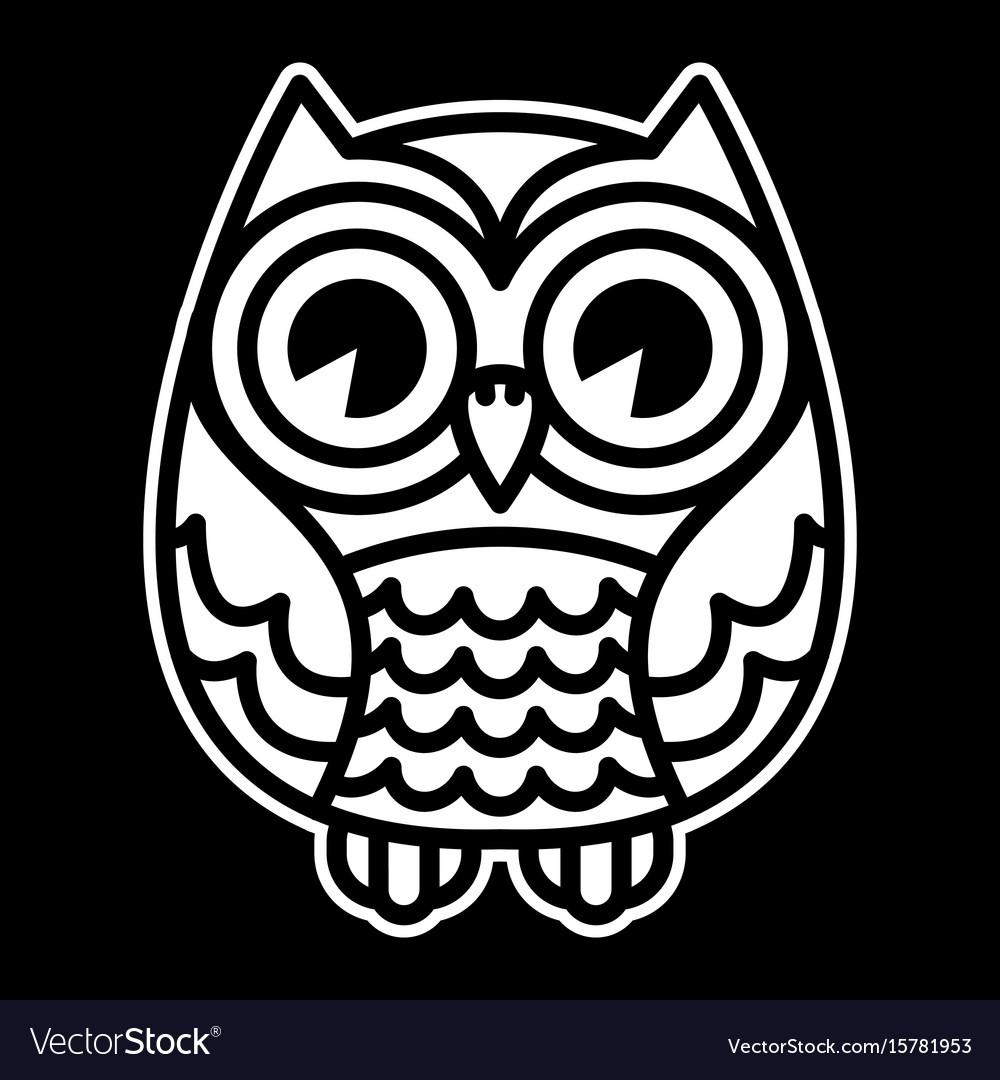 Cute cartoon owl bird with big eyes in sitting