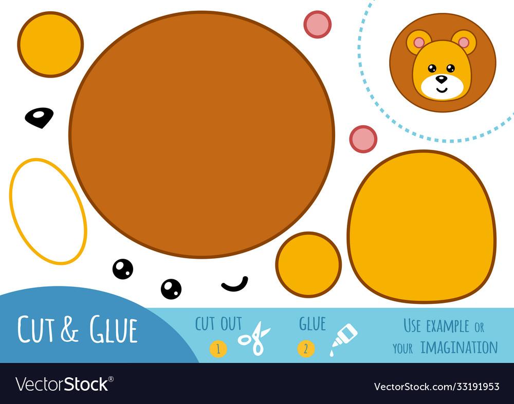 Education paper game for children lion