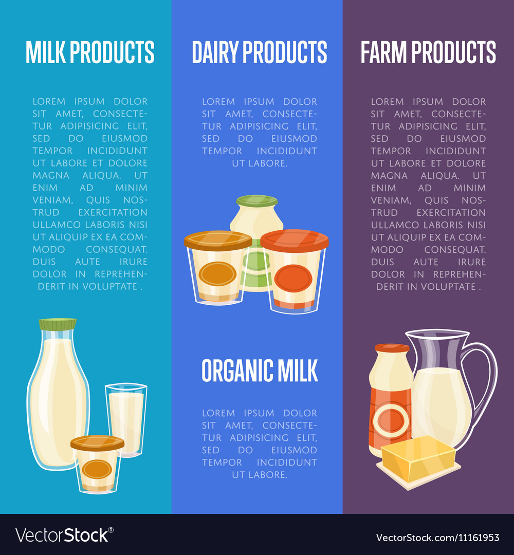 Farm dairy products vertical flyers