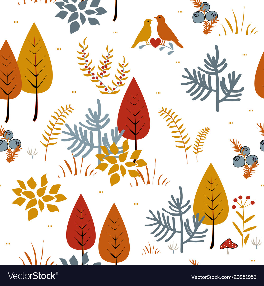 Forest trees seamless pattern hand drawn