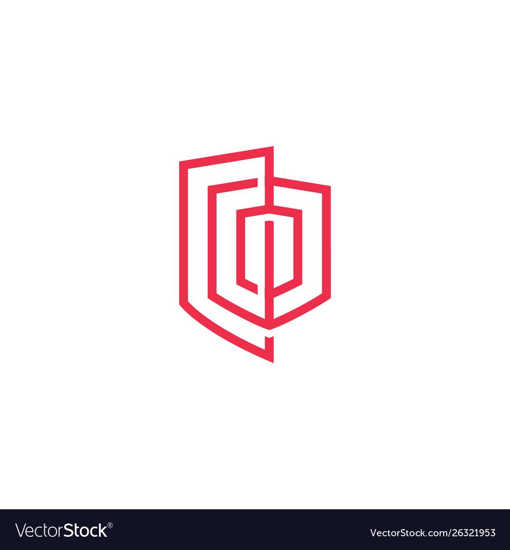 Geometric shield logo icon line outline monoline