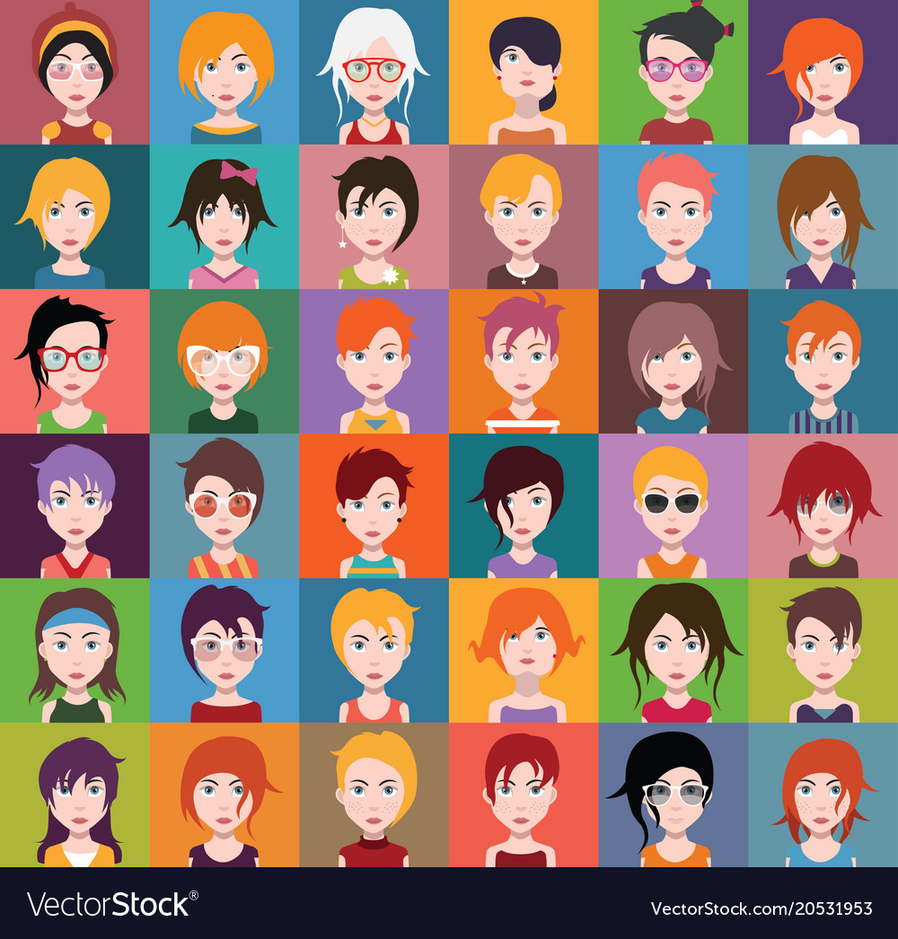 Group of people men and women avatar icons
