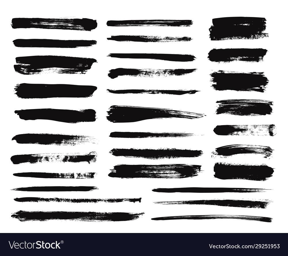 Ink brush stroke dry paint long smear black