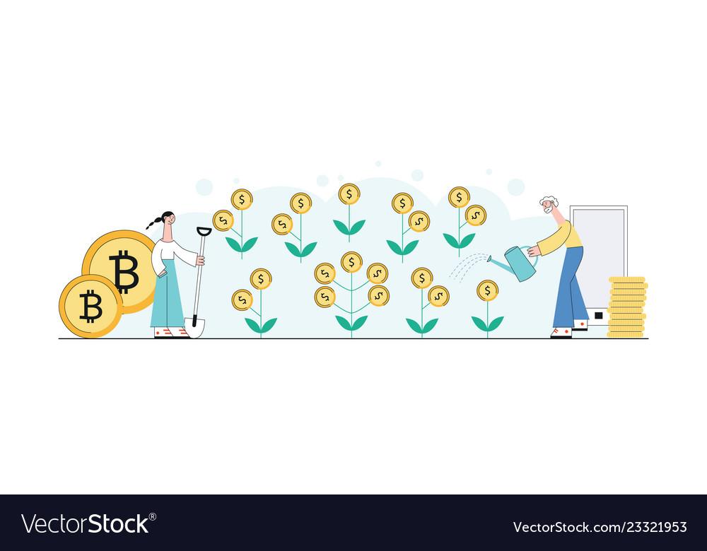 Investment concept money plant glow icon