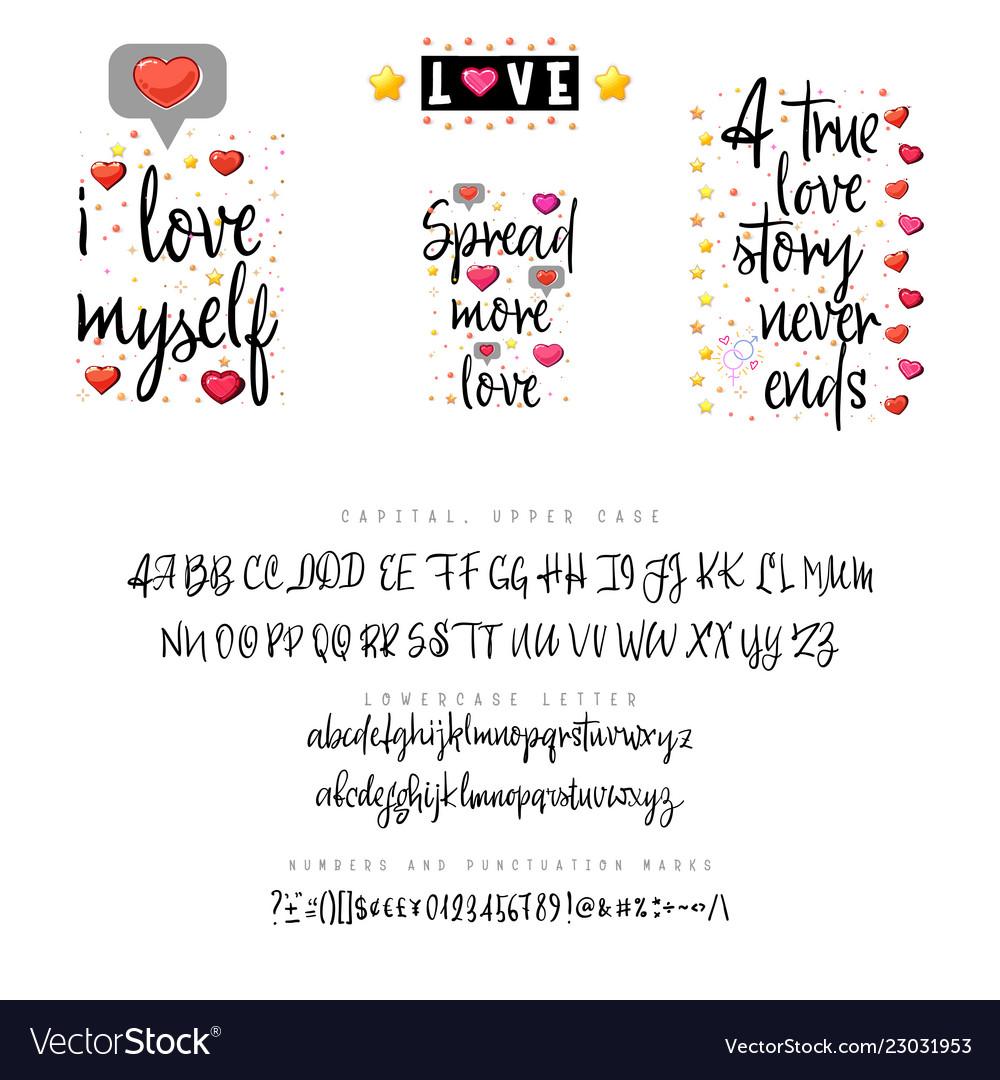 Love quotes and script vintage lettering font for