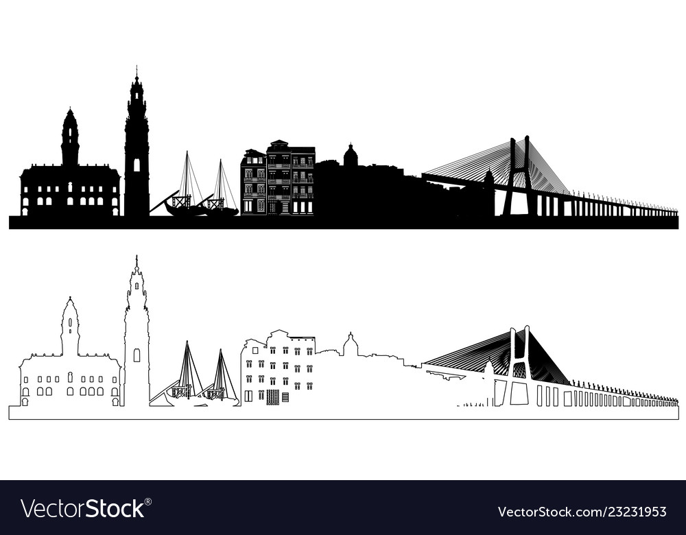 Portugal skyline silhouettes