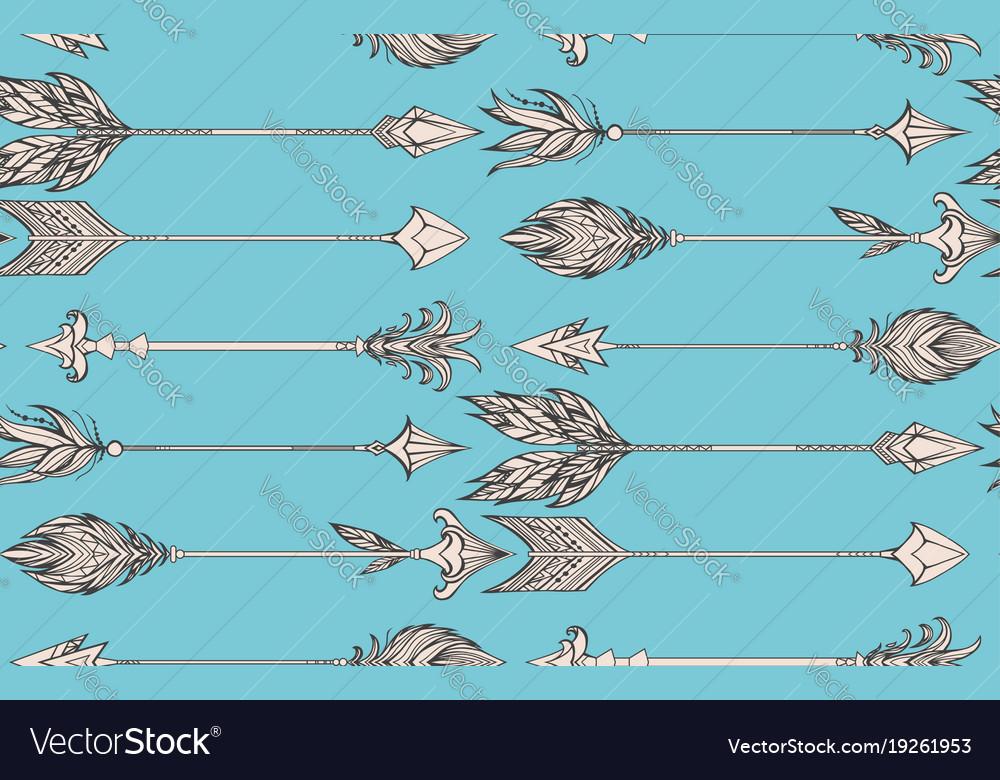 Seamless pattern with boho arrows