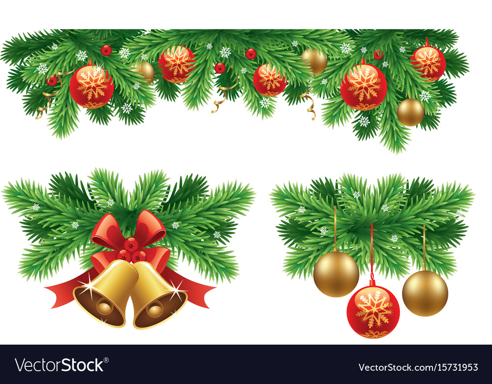 Traditional christmas decorations and garlands