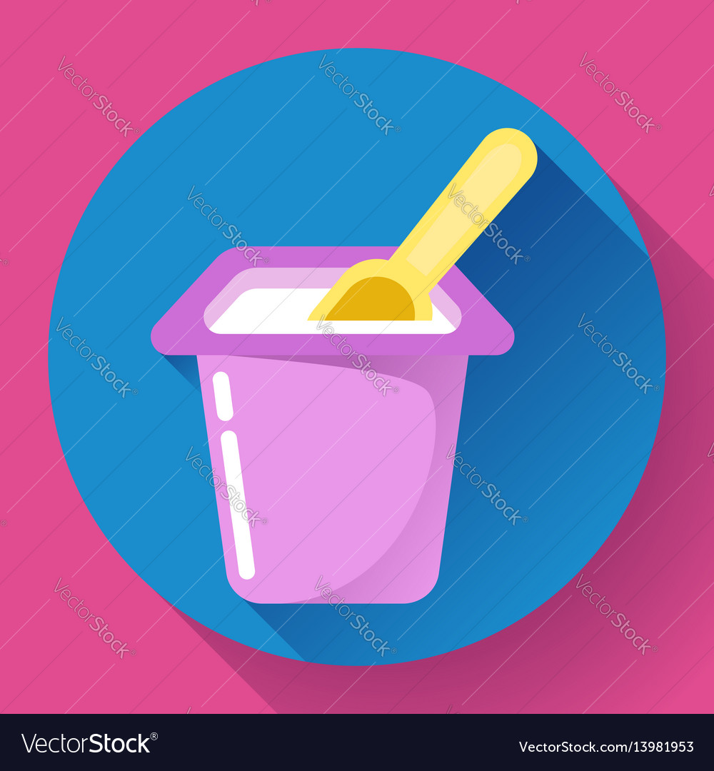 Yogurt cup with a spoon flat icon