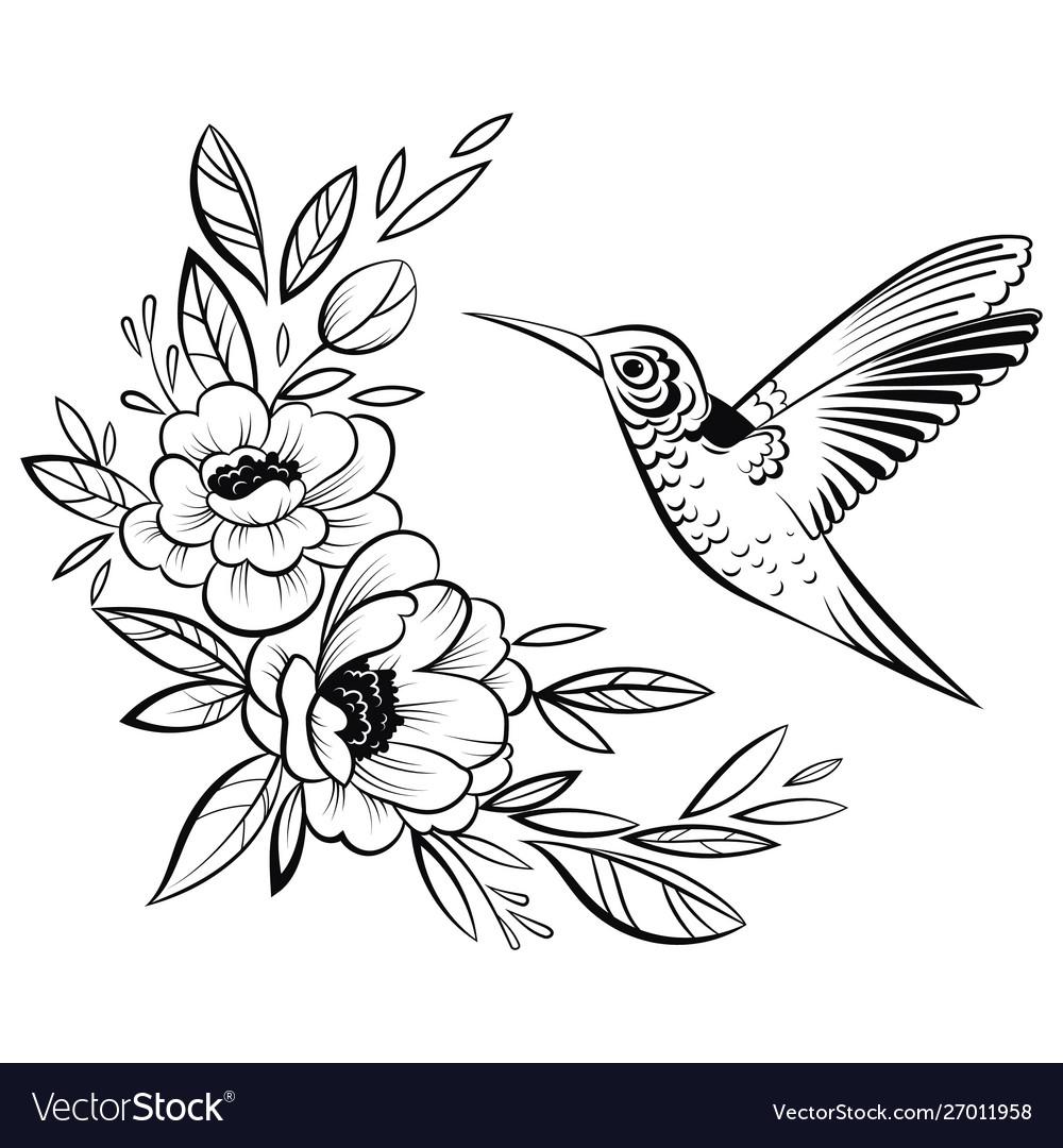 A hummingbird stylized