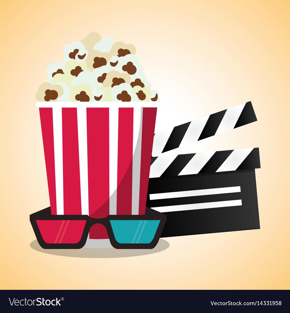 Cinema pop corn clapper and 3d glasses