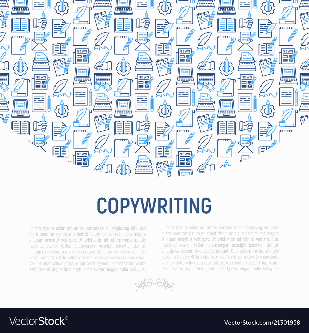 Copywriting concept with thin line icons