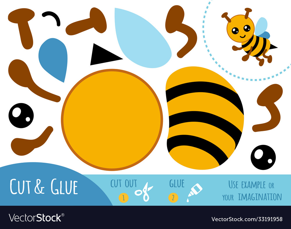 Education paper game for children bee