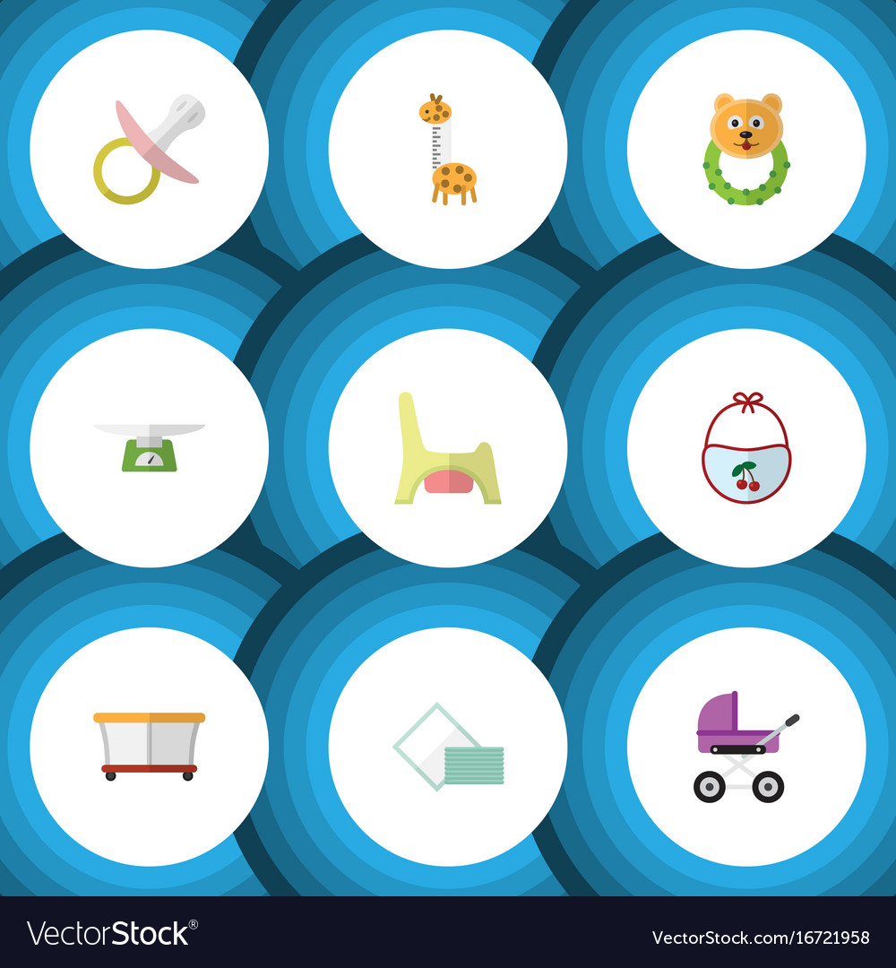 Flat icon kid set of rattle playground nipple vector image
