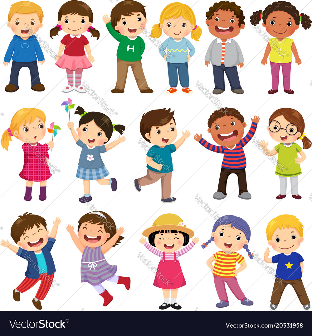 Happy kids cartoon collection vector image