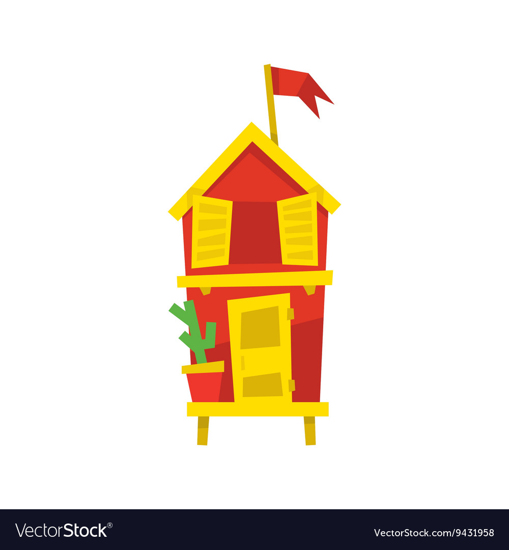 Red Beach Cabin With Cactus vector image