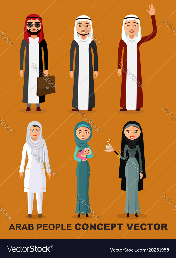 Saudi arab people characters stand set