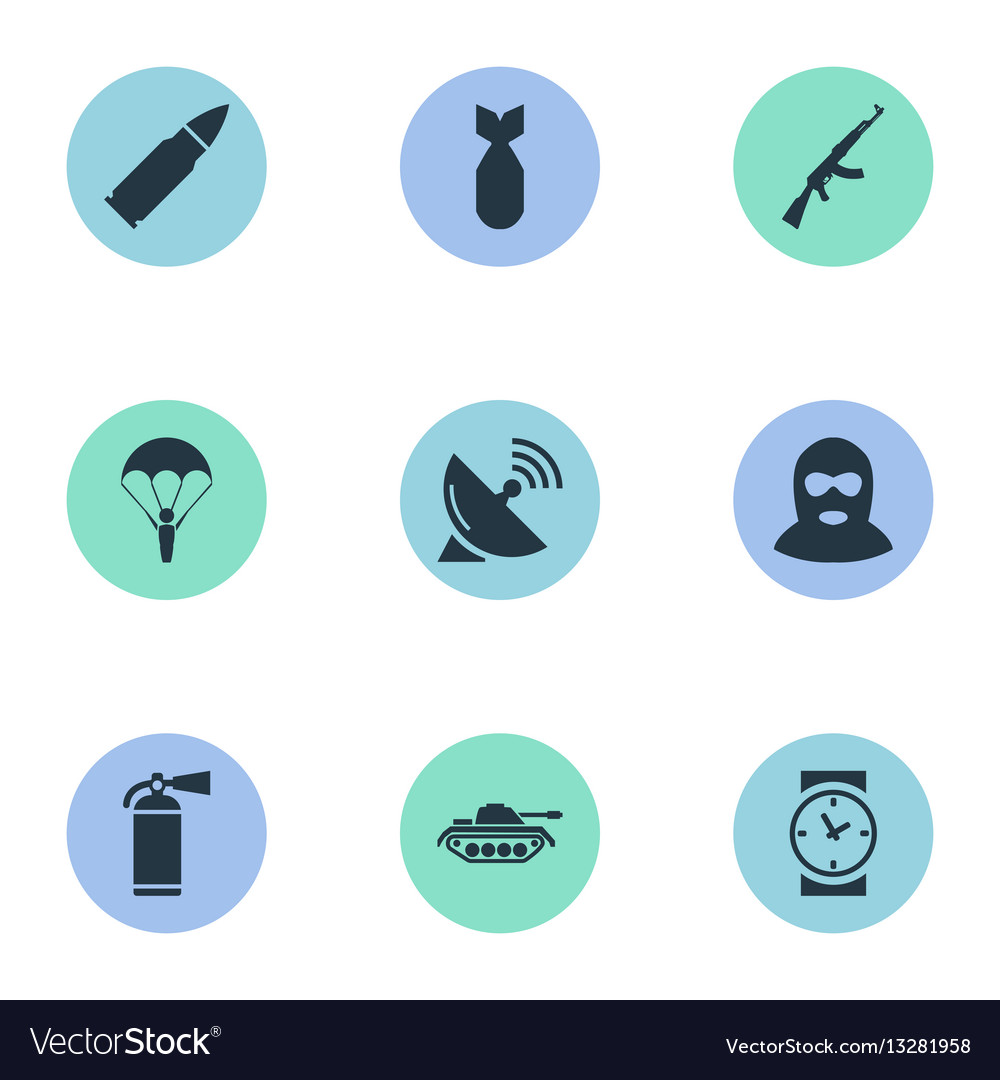 Set of 9 simple battle icons can be found such vector image