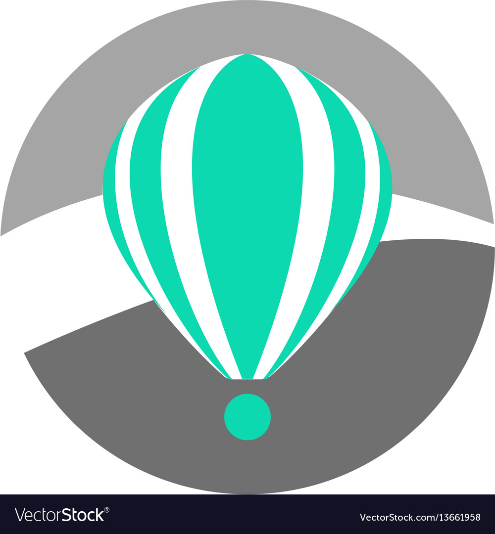Simple turquoise hot air balloon icon
