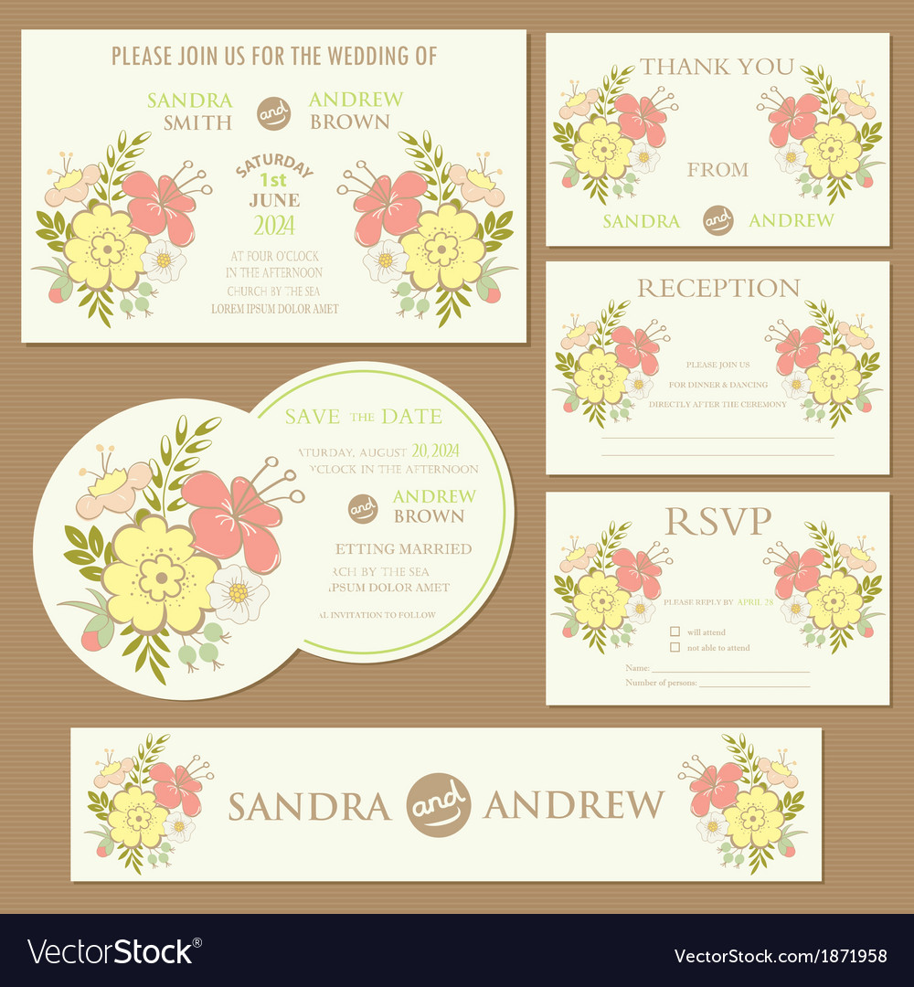 Spring Wedding Invitation Cards Set Royalty Free Vector