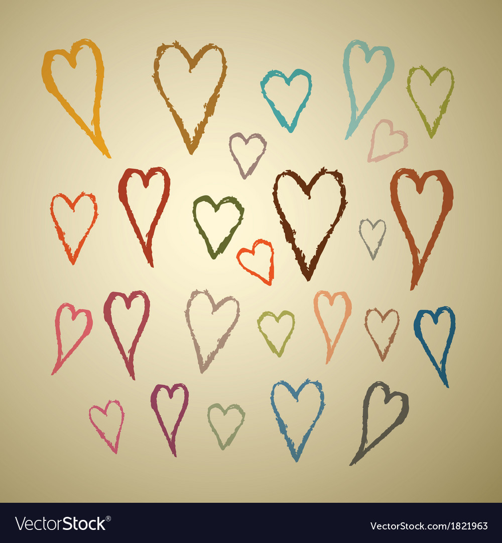 Abstract Hand Drawn Hearts Set on Paper Background
