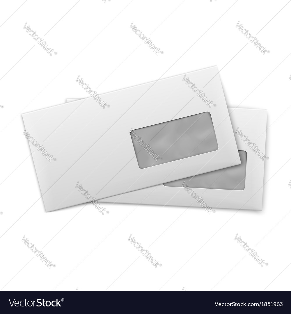 Blank envelopes with window on white background