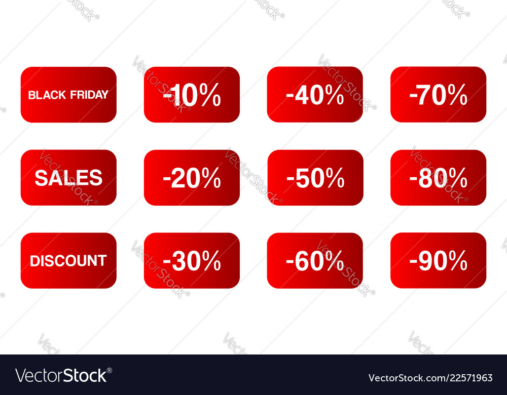 Buttons black friday icons set etc on white