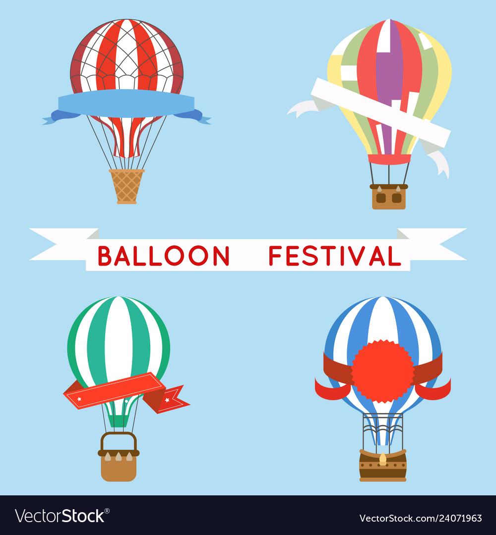 Cartoon aerostat air balloon festival sky flight