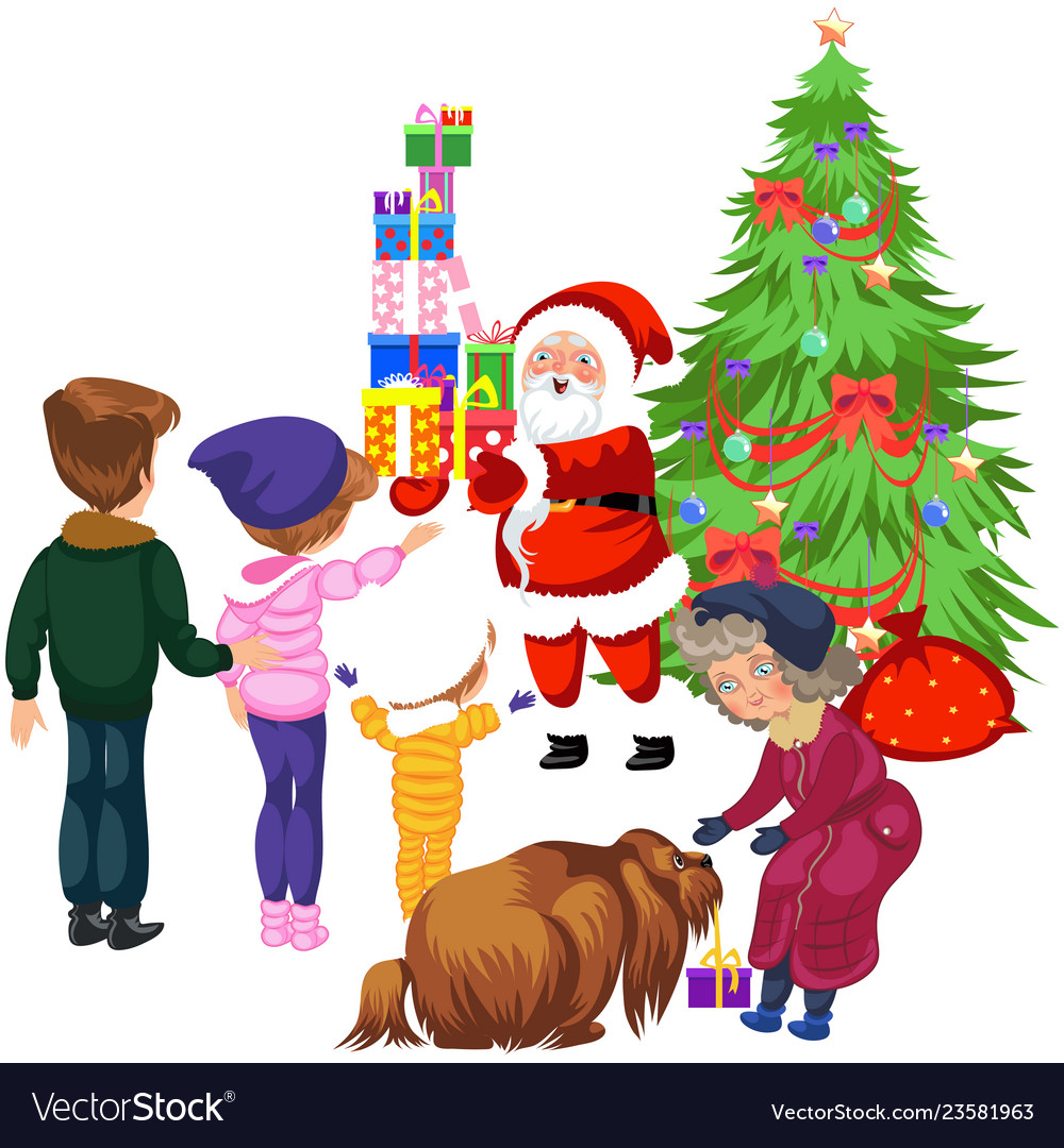 Cartoon family taking presents from santa claus