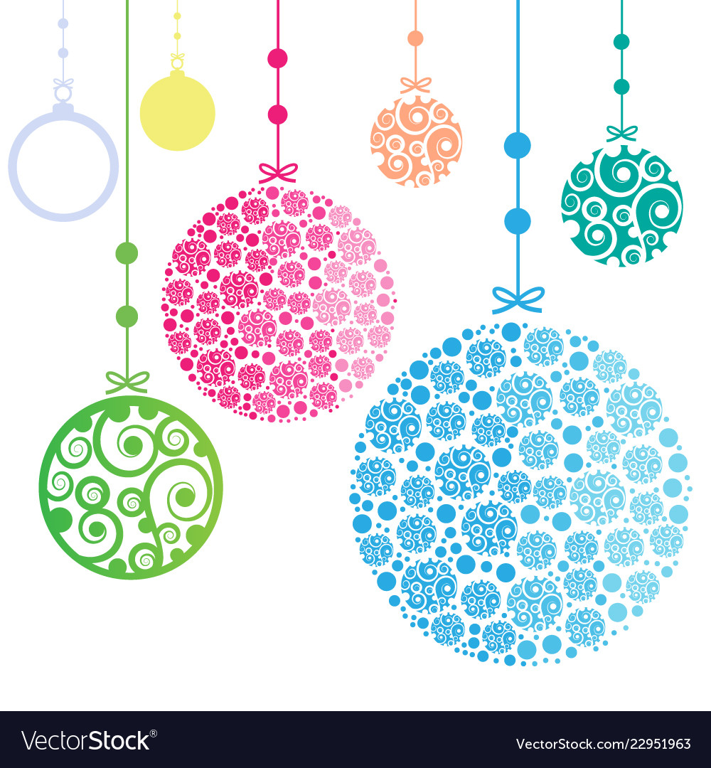 Christmas ornament balls on white background