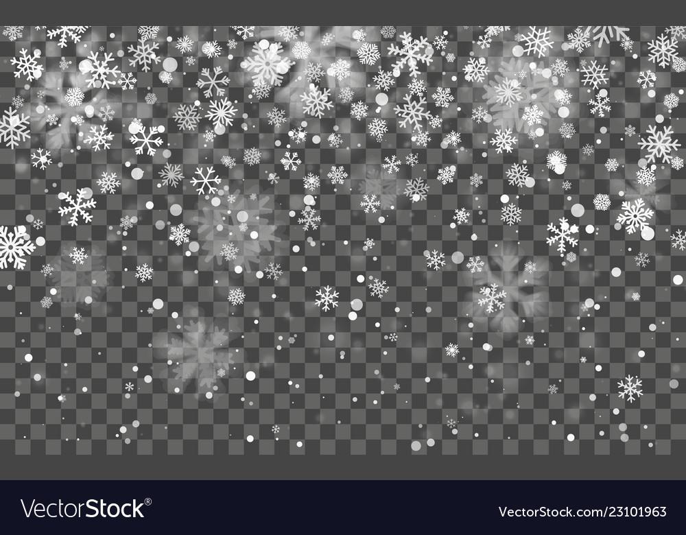 Christmas snow falling snowflakes on dark