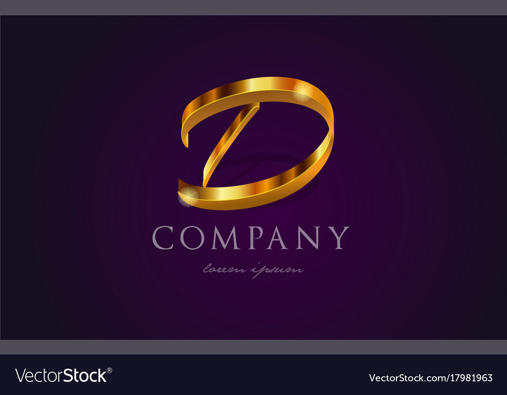 D Gold Golden Alphabet Letter Logo Icon Design