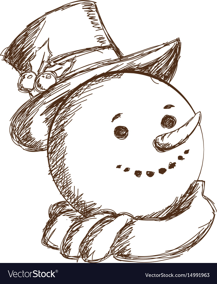 Engraved face snowman christmas character