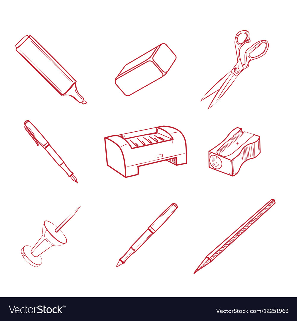 Hand-drawn Office equipment icons