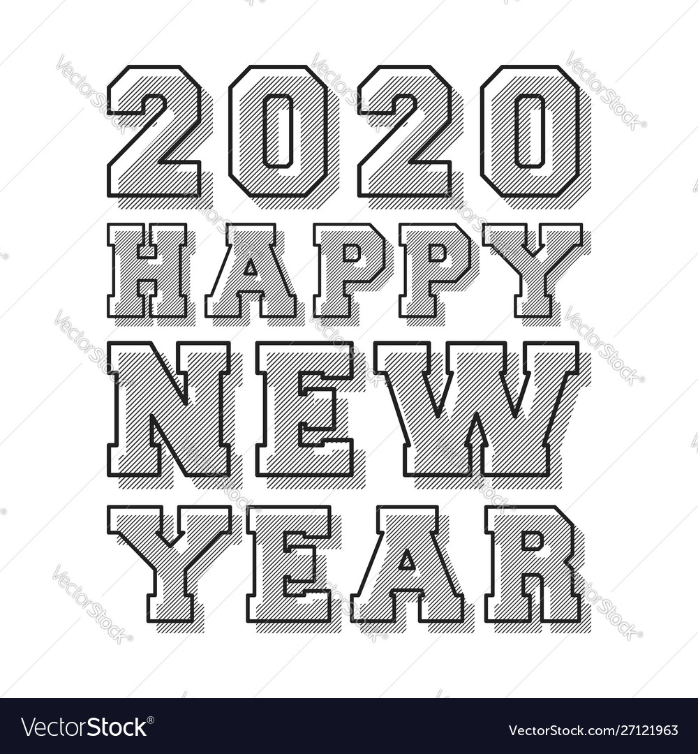 Happy new year 2020 background line stamp design vector