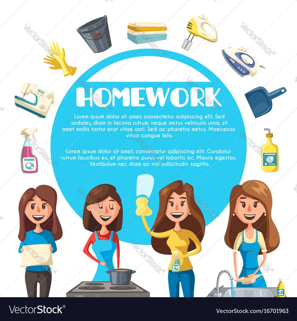 Housekeeping cartoon poster with woman housewife