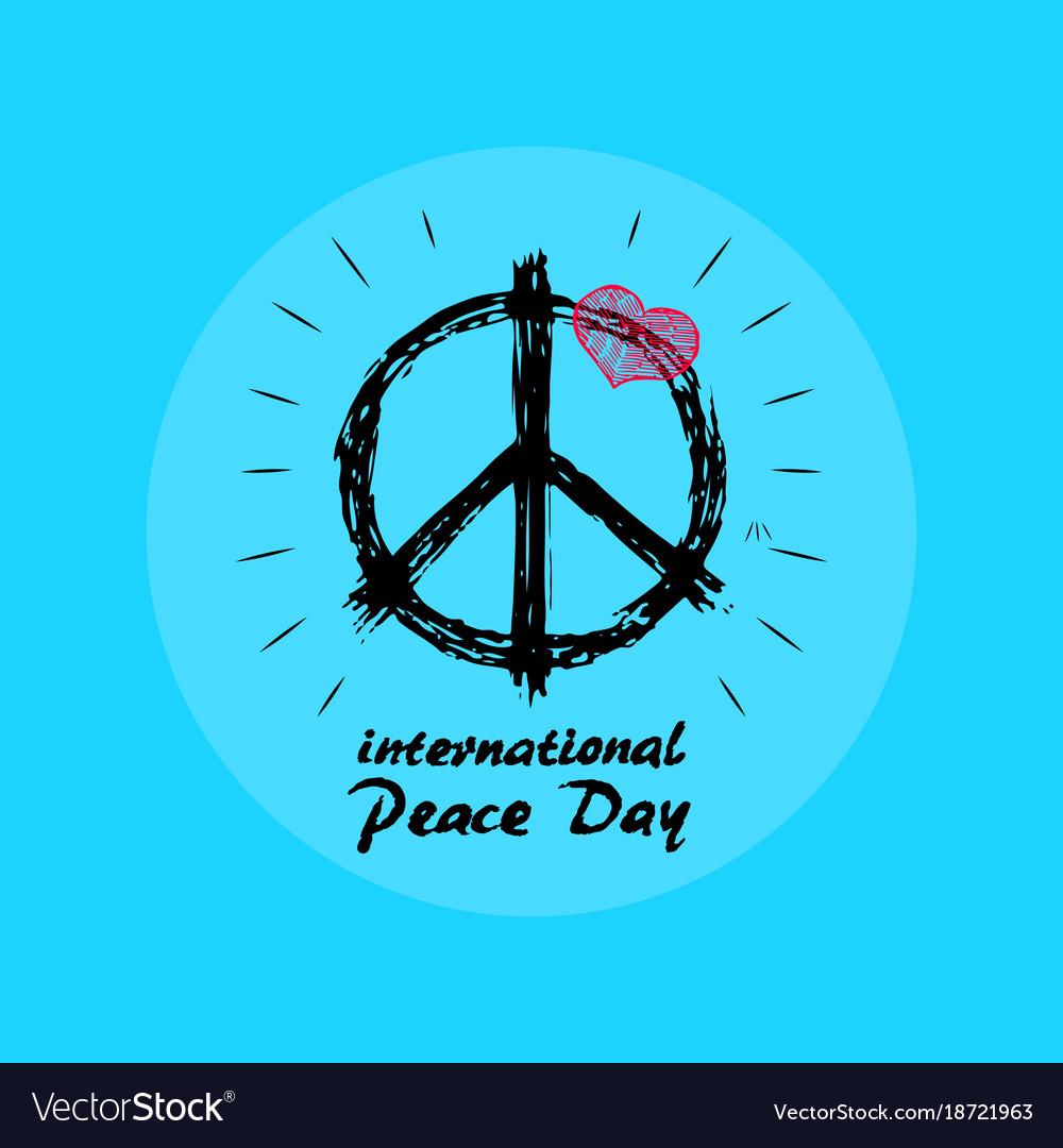 International peace day emblem with hippie symbol