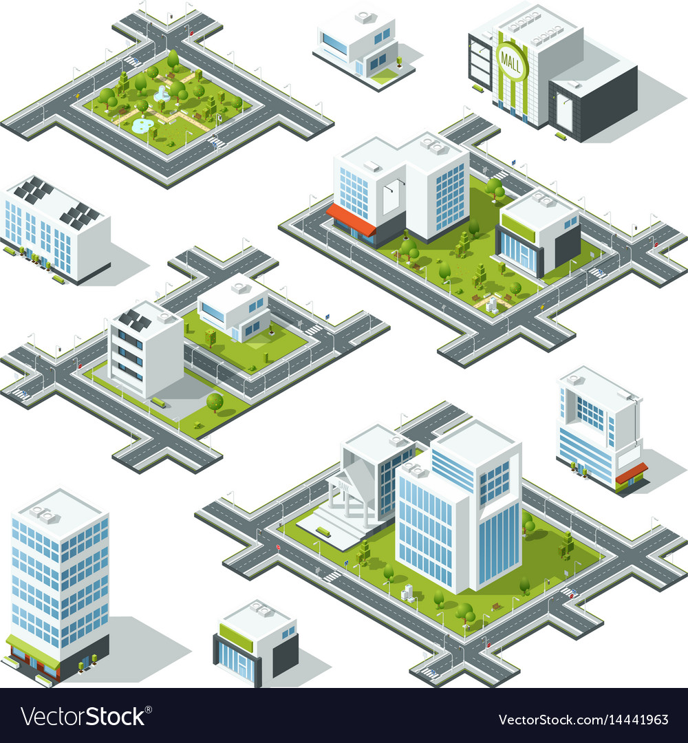 Isometric city 3d with office