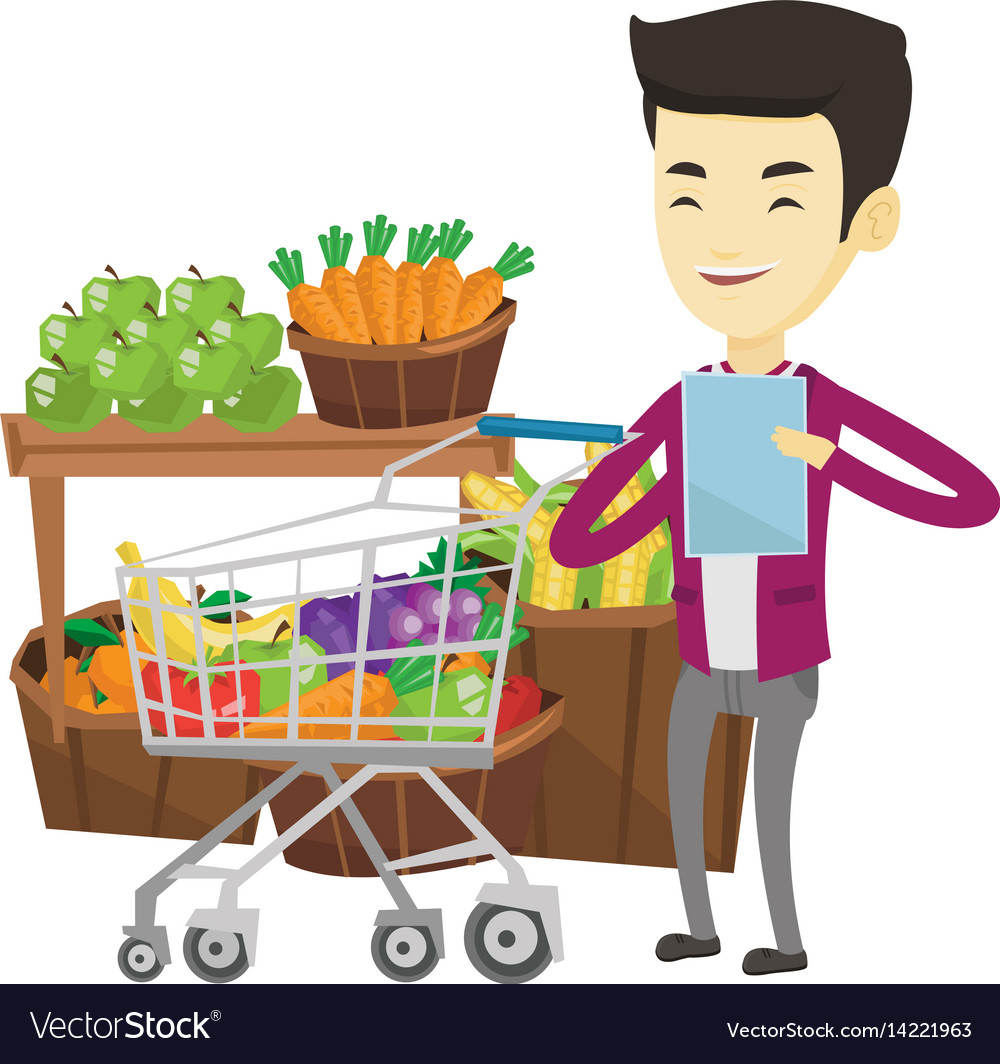 Man with shopping list vector image