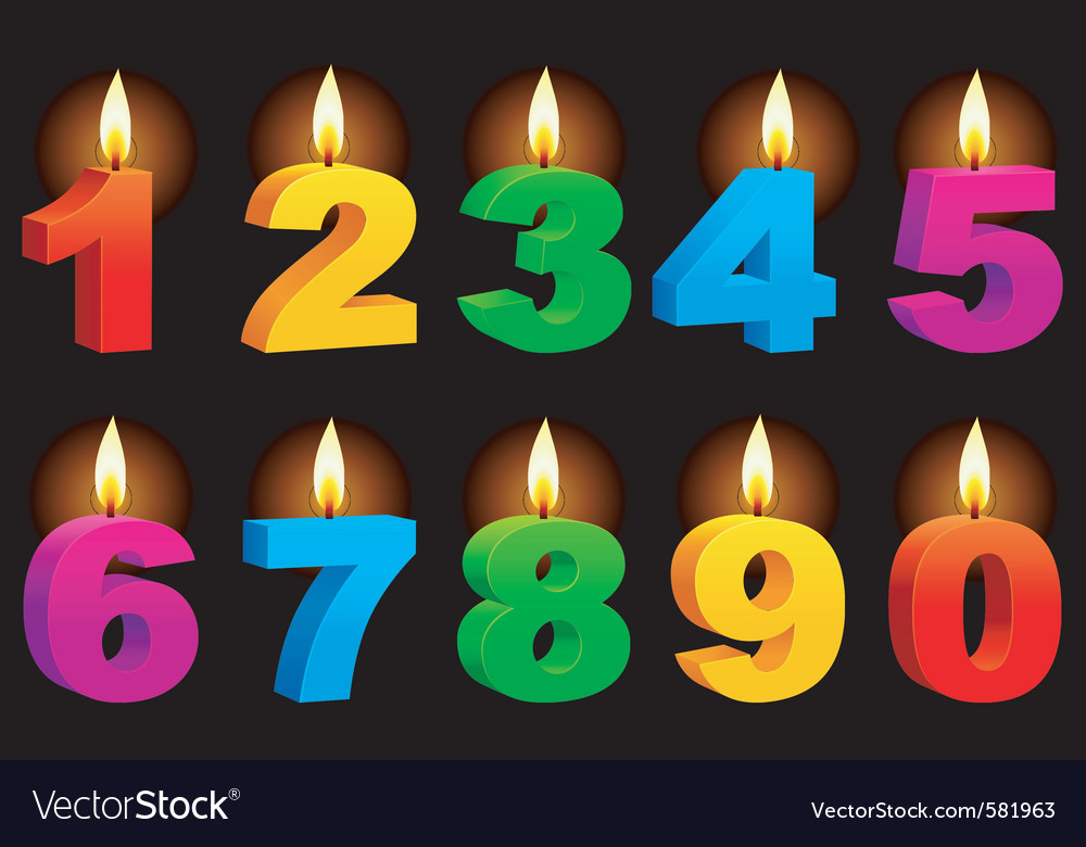 Numbered candles vector image