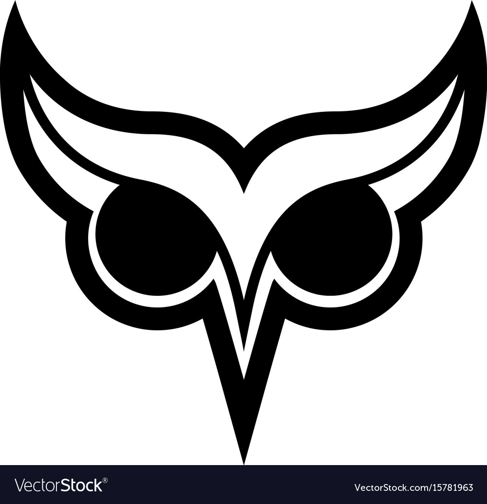 Owl bird logo with big eyes and eyebrows in black vector image