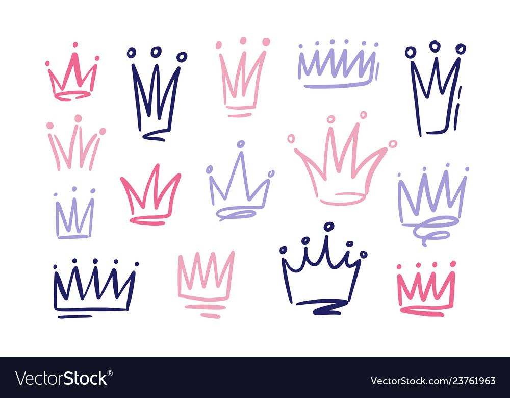Set drawings doodle abstract crowns symbols