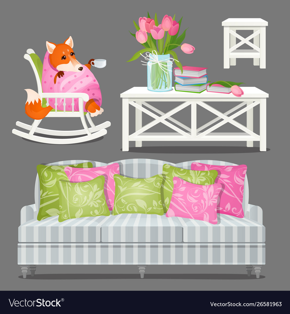 Set home furniture white color and a fox wrapped