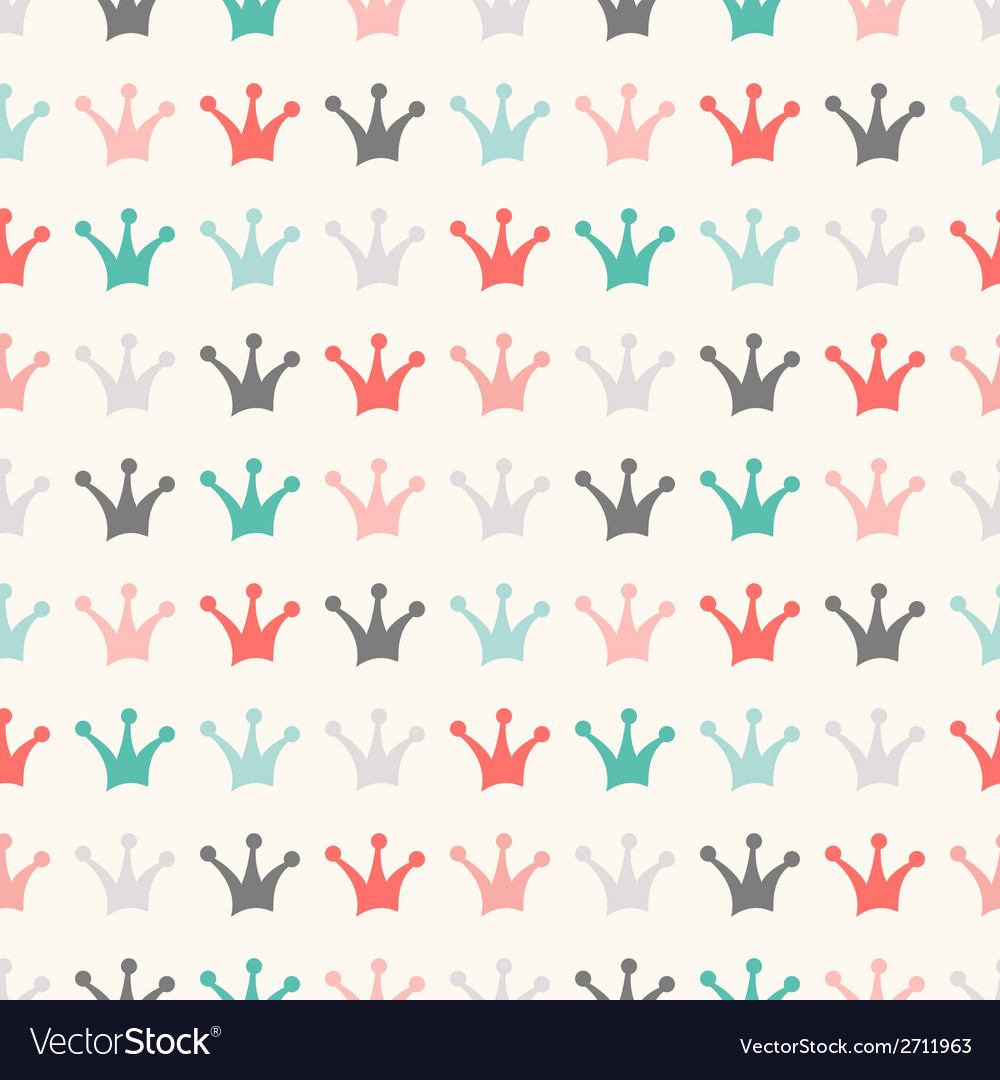 Simple seamless pattern with crown Vintage colors