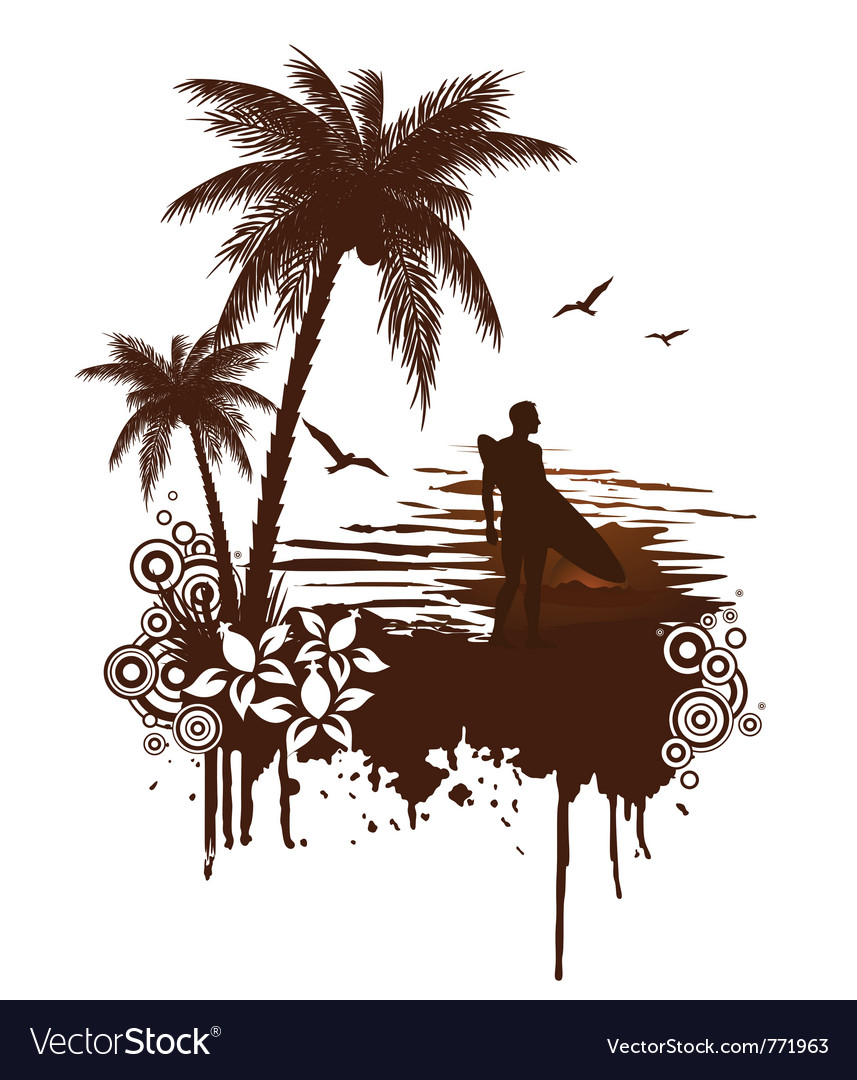 Surf grunge with surfer vector image