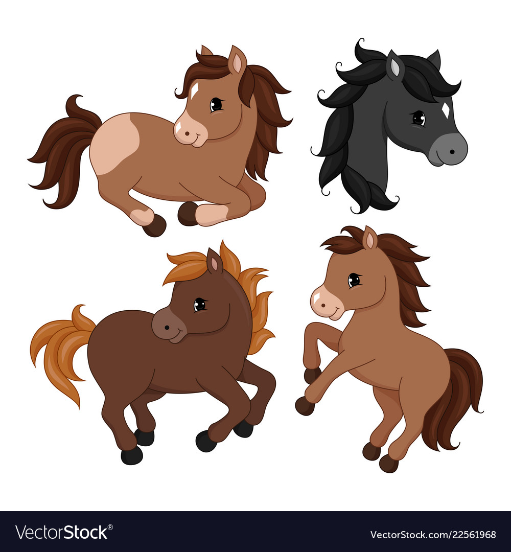 Adorable cartoon horse character